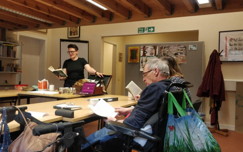 The Reading and Creative Writing activity group enjoys occasional visits from guest authors