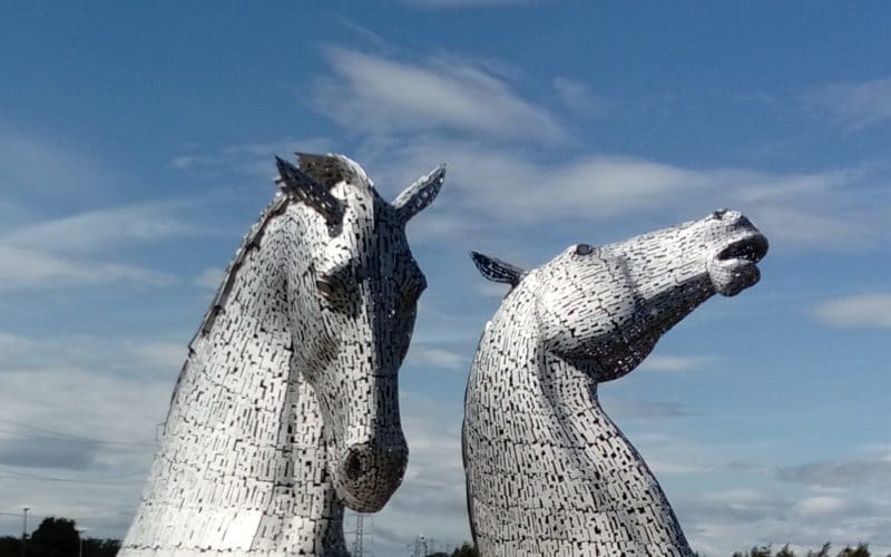 Image of The Kelpies at The Helix in Falkirk. Two impressive sculptures of horses made from metal.