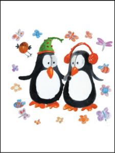 Penguins listening to music